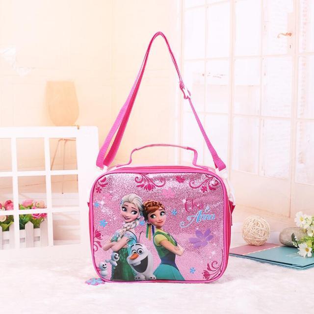 7ed78efd1903 2018 новые модные сумки детские обед мешок Bling Эльза Анна Коробки для  обедов для девочек Пикник