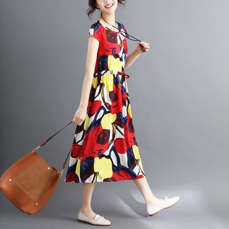 red cotton linen plus size vintage floral print women casual loose long summer dress elegant vestidos clothes 2019 dresses 2