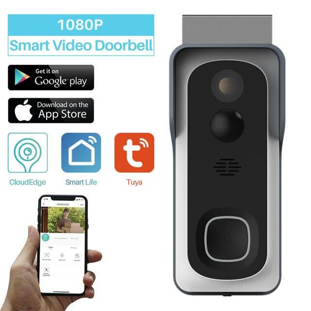 WiFi Akıllı Video Kapı Zili Kamera Ev Güvenlik Monitör Gece Görüş Video Interkom SmartLife APP Kumanda Üzerinden iOS Android Telefon