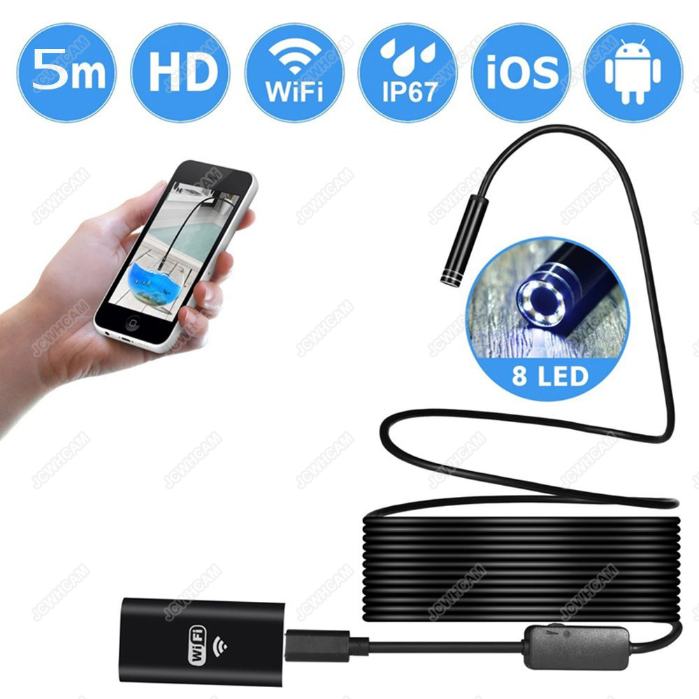 1/5/7m Cable 8mm Od Hd 720p Wifi Endoscop Android Usb Ios Endoscope Camera Flexible Wire Tube Cable Vehicle Pipe Inspection Cam