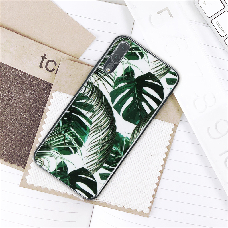 Fitted Cases Eleteil Plants Case For Huawei P20 Lite P10 Lite P20 Pro Natural Green Leaf Back Cover Shell Soft For Huawei P10 P10 Lite E40