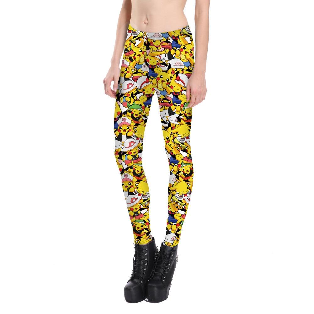 New 2017 Women Cartoon Pikachu Print Fitness Leggings Elastic Fiber Hiphop Party Cheerleader Rooter Workout Pants Trousers
