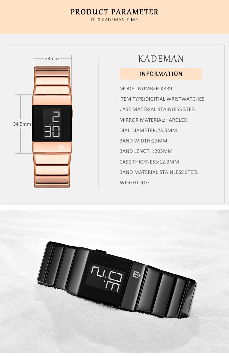 Fashion Women Bracelet Watches High Quality Rose Gold Stainless Steel Waterproof Top Brand Luxury Digital Sport Watch For Ladies 2