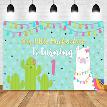 NeoBack Mexican Backdrop Alpaca Cactus Background First Birthday Party Photo Backdrops Colour Flag Banner