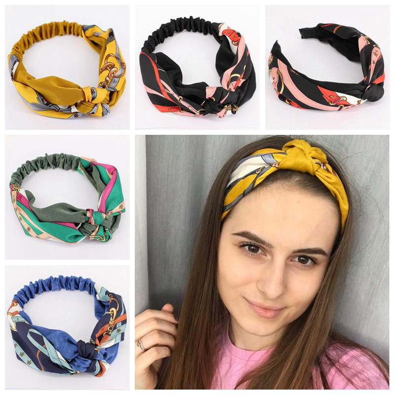 dc888bf81e1 Summer Chiffon Headband Turban Twist Cross Headbands Headwrap Girls Elastic Knotted  Hair Bands Hairband Women Hair