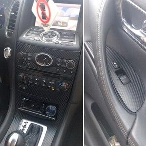 Para Infiniti QX50 EX25 EX35, manija de puerta de Panel de Control Central Interior, pegatinas de fibra de carbono, calcomanías, accesorios de estilo de coche