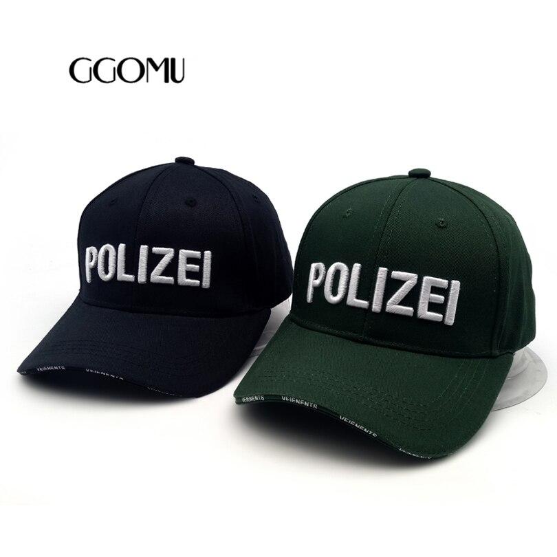 Prix pour GGOMU 2017 Nouvelle Haute Qualité Polizei lettres Mens Casquettes de Baseball Marque Snapback Chapeau pour Homme Femmes 100% coton Matériel ZLH-102