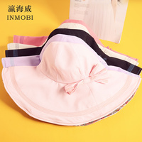 Large Wide Brim Bucked Hat Summer Women Bow Knot Beach Visor Cap Girls Red Purple Black Pink Ivory Solid Soft Sun Hats Sunshade