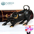 "NEO 11.5CM(4.5"") Brass Wall Street Bull Ox Figurine Charging Stock Market Bull Statue Feng Shui Sculpture Home Office Decor"