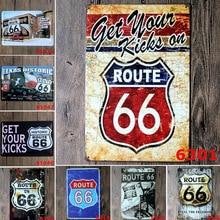 цена на American Historic Old Route 66 Vintage Metal Tin Signs Home Decor Bar Pub KTV Garage Plates Metal Wall Art Poster