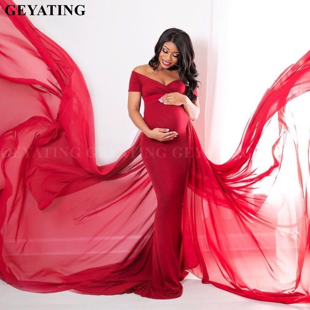 Élégante épaule dénudée bourgogne sirène maternité robe de soirée 2019 grande taille africaine bal longues robes formelles pour les femmes enceintes