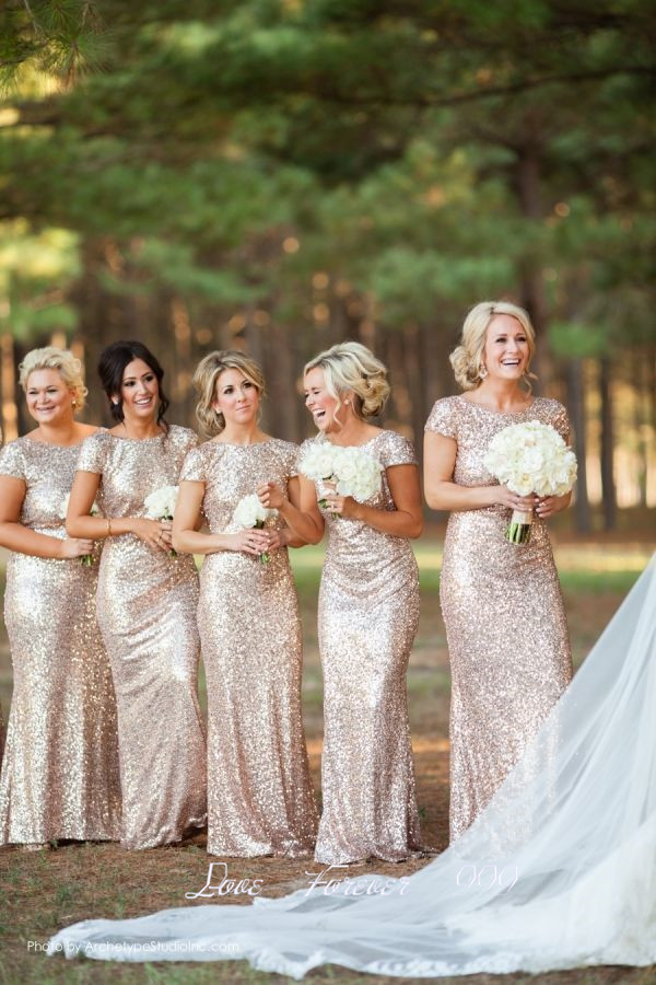 Spring Short Sleeve Long Gold Bridesmaid Dress Robe Demoie D Honneur Sparkly Sequined Y Bridal Party For In Dresses From