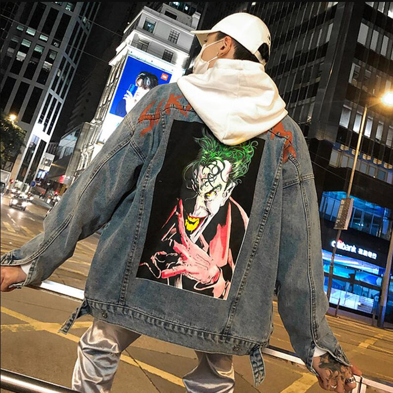Detalle Comentarios Preguntas sobre 2018 joker impreso para hombre denim  chaqueta otoño casual abrigo de moda de calle desgaste chaquetas abrigo Hip  hop ... 8c4705f00a7