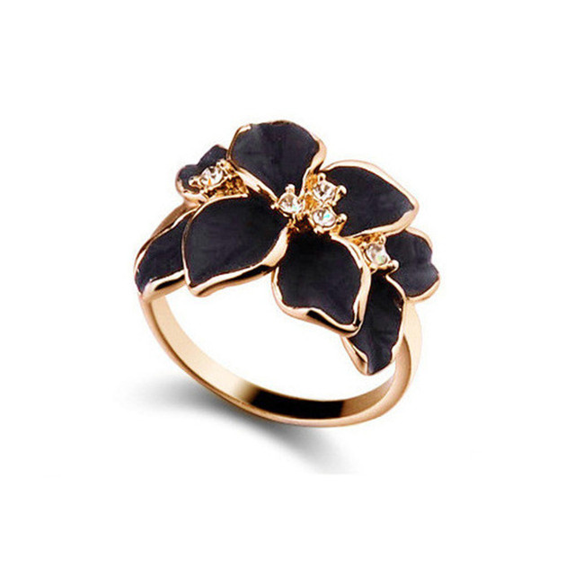 QCOOLJLY Hotting Sale Jewelry Ring With Rose Gold Color Austrian Crystal Black E