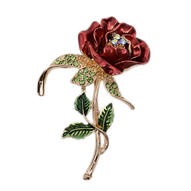 1 PCS Red Rose Flower Brooch Garment Accessories Wedding Bridal Jewelry Crystal