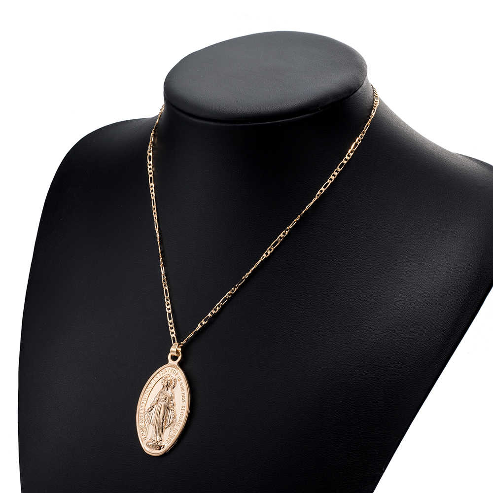 IPARAM זהב מדליון בתולה מרי יוניסקס מטבע שרשרת, ארוך שכבות שרשרת