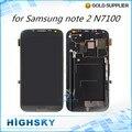 Para samsung galaxy note 2 n7100 lcd screen display com digitador touch com montagem de quadro de 1 peça livre pós hk