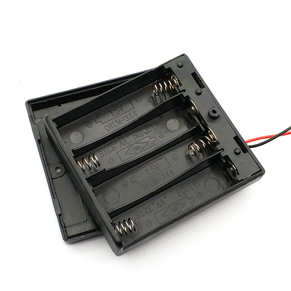 6V 4 X AA Battery Holder Case Slot Holder Plastic Storage Box With OFF/ON Switch Wires For RC Parts For Output DC 6V