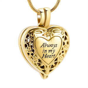 IJD10060 Always In My Heart Cremation Locket Necklace For Ashes Of Loved One Keepsake Hold Cylinder memorial Urn Jewelry(China)