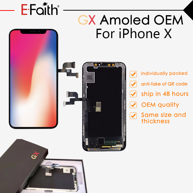 EFaith GX Amoled For iPhone X OLED LCD Display Touch Screen Digitizer Assembly Replacement Same Size and Good Color Free DHL-in Mobile Phone LCD Screens from Cellphones & Telecommunications    1