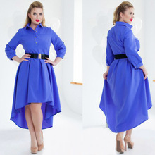 Big size 6XL 2016  Fat MM Woman dress Autumn long sleeve Elegant Loose patchwork dresses plus size women clothing 6xl dress