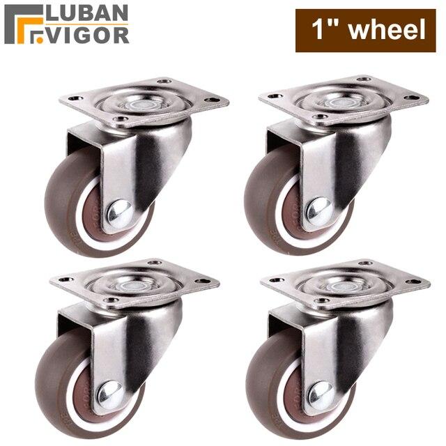 Mini small casters,diameter 1inch/25mm,TPE rubber,Super mute wheels,bear 20kg/pcs,For bookcase drawer Flower racks