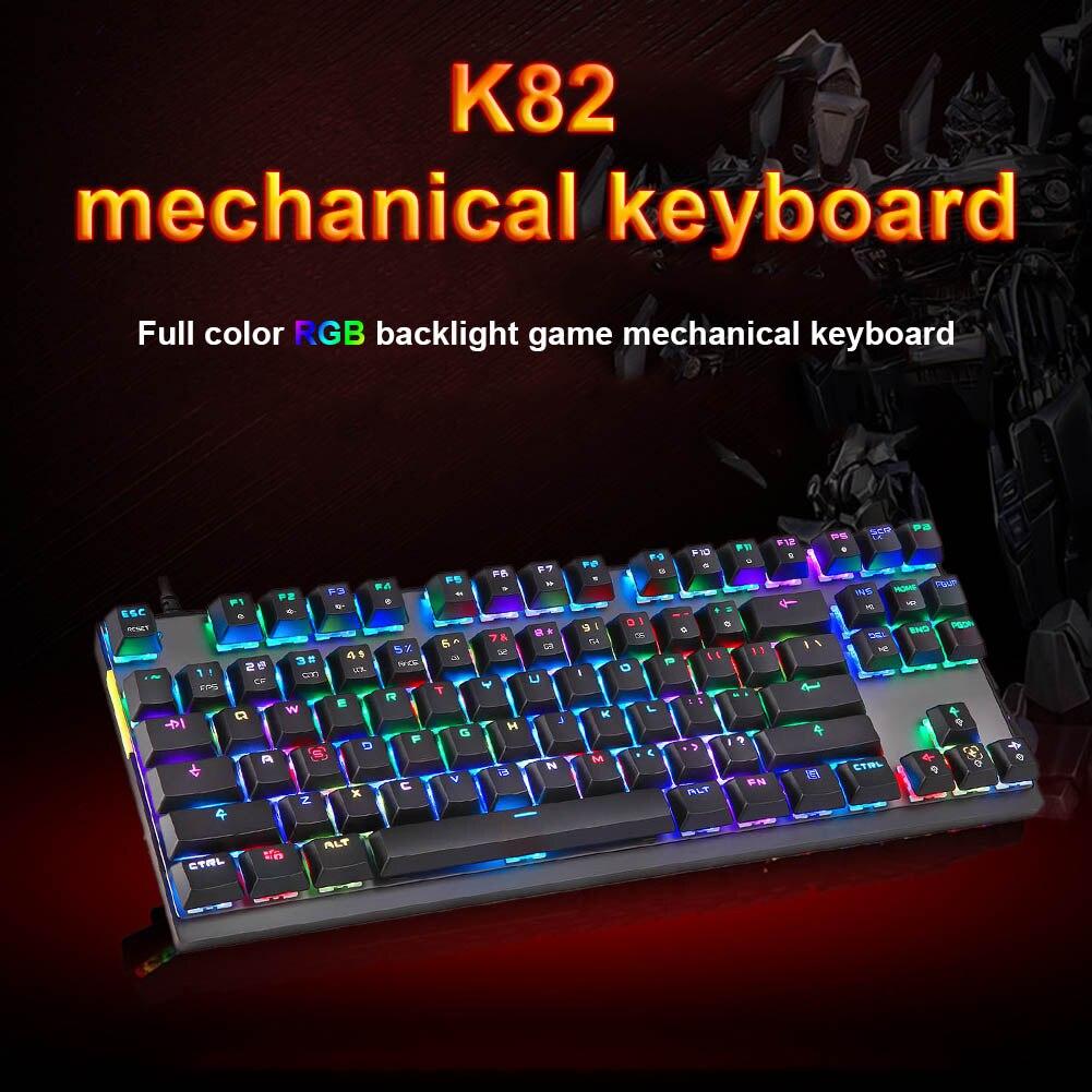 New Hot K82 Gaming Mechanical Keyboard RGB LED Backlight USB Wired 87 Keys for Esports Games цена