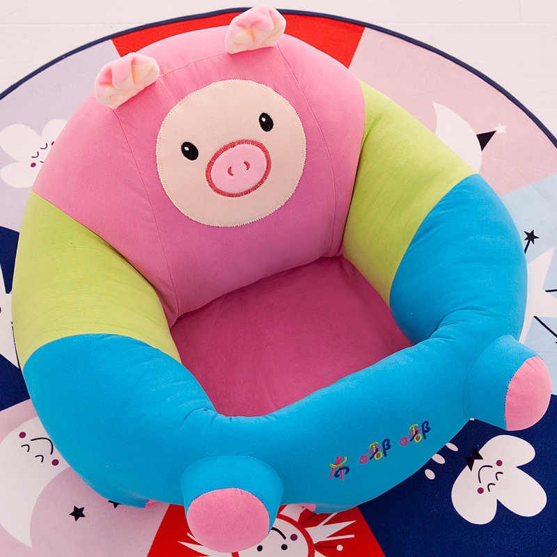 Asiento de bebé portátiles sólo cubrir No llenado de dibujos animados niño sentado silla niños nido lavable bolsa de frijol sofá de piel