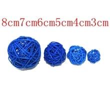 Free shipping Wholesale 2.5cm/ 3cm/ 4cm/ 5cm/ 6cm blue Colors Woven Wicker Ball Home Decoration Please select a size 014024008