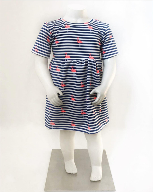 Summer Casual Style Baby Girls Toddler Kids Baby Girls Flamingo Print Striped Princess Dress Sundress Outfits Clothes