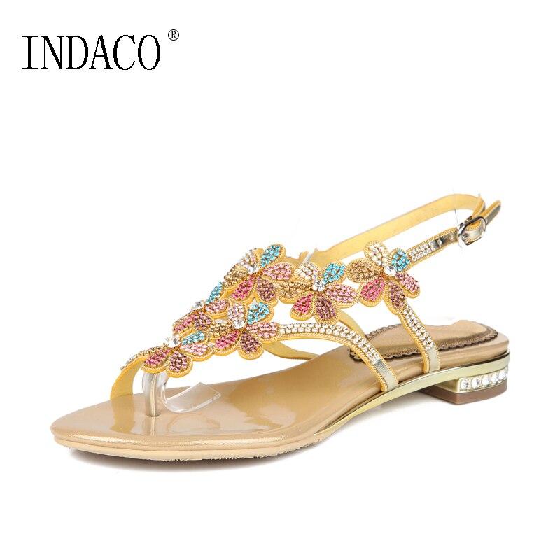 Rhinestone Thong Flat Sandals Summer Flat 2018 New Style Ankle Strap Flowers Summer Shoes Sandalia Feminina INDACO
