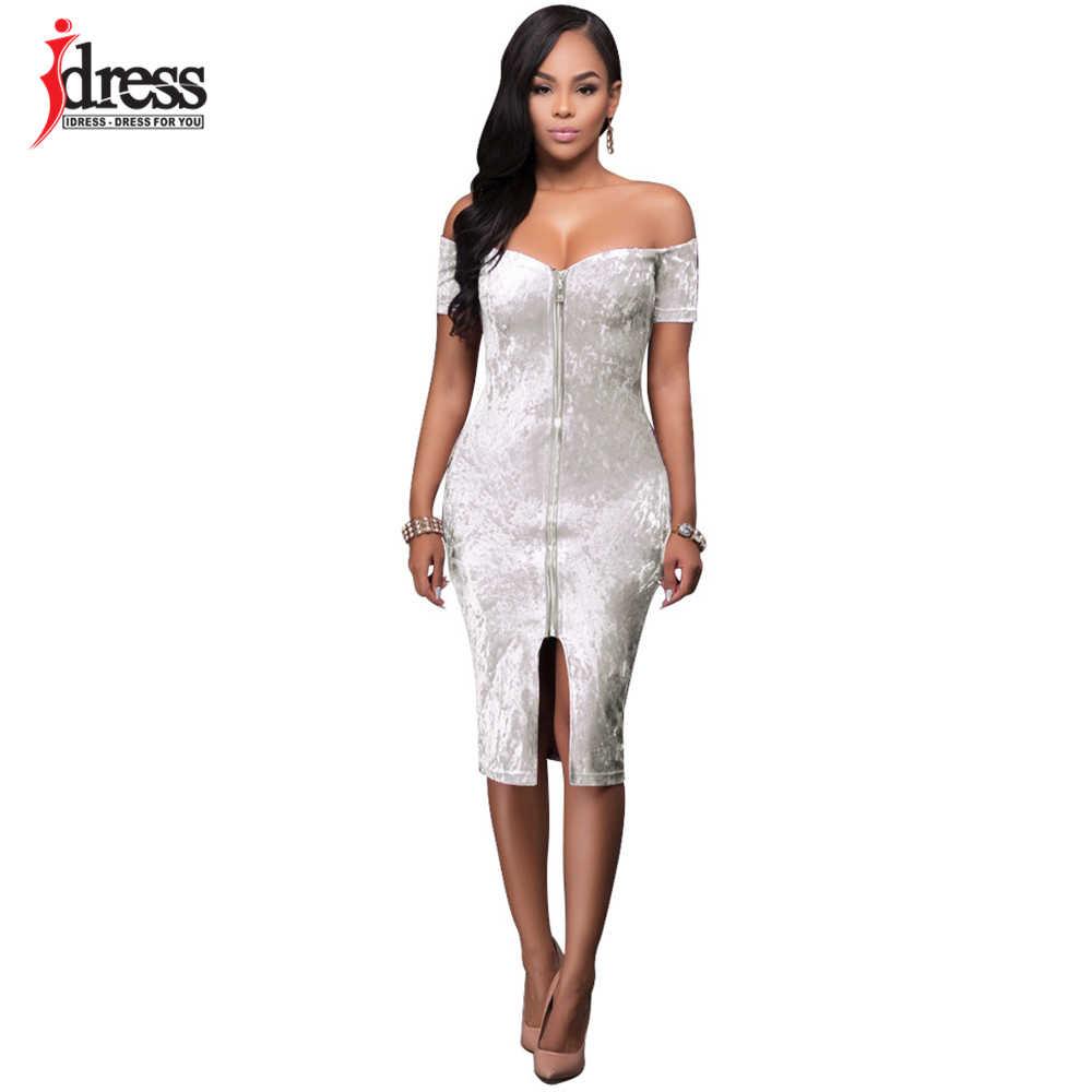 afa4fcf6edd IDress 4 Color S-XL Beautiful Cheap Dresses Sexy Off the Shoulder Velvet  Bodycon Bandage