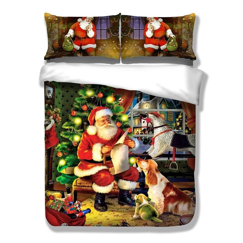 De noël literie suite, trois grand ensemble de cadeaux de noël, lit king size couvert avec oreiller drôle unique double XHS0094