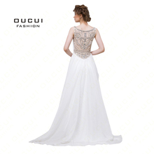 Real Photos Long Elegant Prom Dresses Sequins with Chiffon Fabric withe Tulle Beading Hand Make Long Evening Dress Gown OL102833