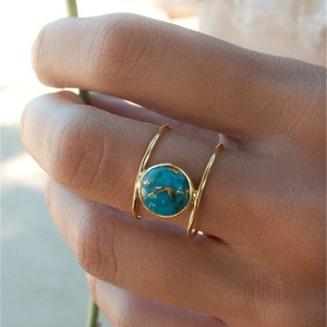 DoreenBeads Fashion Rings Gold Color Bouble Circles Beautiful Green Blue Stone Vintage Jewelry For Women Party Accessories,1 PC