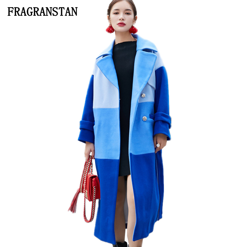 d5784743f52 ... Female Autumn Winter Keep Warm X Long Blue Woolen Coat Lady New Fashion  Hit Color Casual Loose High quality Vestidos JQ463-in Wool & Blends from  Women's ...