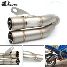 36-51MM Universal Motorcycle Double Exhaust Muffler Pipe escape moto For Husqvanrna SM 450 R KTM 125 Duke ABS 990 Super