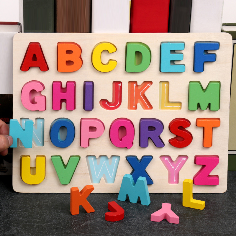Wooden Toys Alphabets Digital Puzzles Kids Toys Educational Toys Letters Board Montessori Educational Wooden Toys For Children