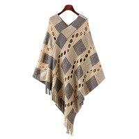4 Stil 2017 Winter Frauen V Neck Batwing Streifen Fransen Stitching Unregelmäßige Tops Poncho Schal Cape Pullover Blusas Femininas