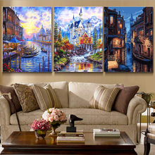 3 Pcs/Set Sailing Boat DIY Painting By Numbers Drawing Painting By Numbers Kits Paint On Canvas For Home Wall Art Picture 40x50