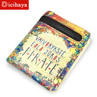 DICIHAYA High Quality Women Genuine Letters Wallet Girls Printing Wallets Fashion Zipper Short Purse Delicate Cash Purse 702A03