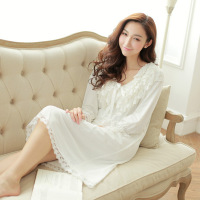 Spring Nightgowns Sleepshirts White Pink Loose Female Long Dress Women Clothing Sleepwear Lace BowknotHU502