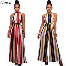 Uown 2017 Hot Selling Women Jumpsuit Summer Sexy Ladies Casual Jumpsuit Loose Striped Sleeveless Fashion Jumpsuit Beach Rompers