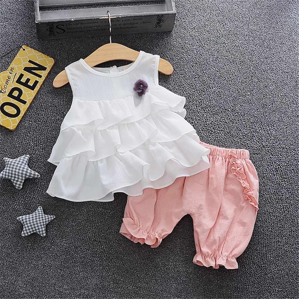 2020 סטי בגדי אימונית פעוט ילדי ילדי תינוקת עבור בגדי פרע פרחוני חולצות מוצק Ruched מכנסיים מכנסיים תלבושות