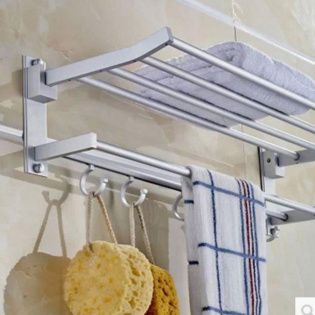 Aluminum Hanging Towel Racks Folding Shelves 60CM Bath towel holder ...