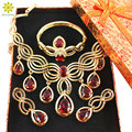 Wedding African Beads Jewelry Set Red Zircon Crystal African Wedding Jewelry Sets Gold Plated Jewelry Set+Gift Boxes
