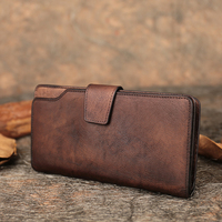 Cow Skin Women's Wallet 2019 New Long Style Lady Purse Coin Pocket Handmade Genuine Leather Foldable Wallet Multiple Card Holder