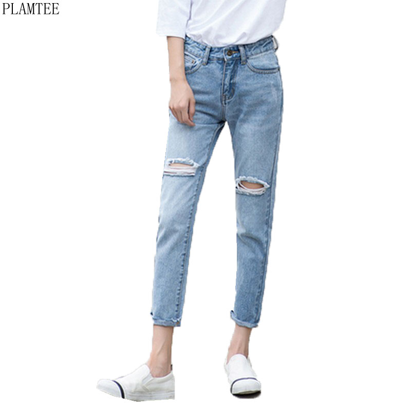 PLAMTEE Plus Size 25~32 Ripped Jeans For Women Vintage High Waisted Pantalones Mujer Boyfriends Holes Pantalon Femme 2 Colors women high waist jeans plus size dark women skinny ripped jeans femme jeggings sexy pantalones tejanos mujer boot cut jeans