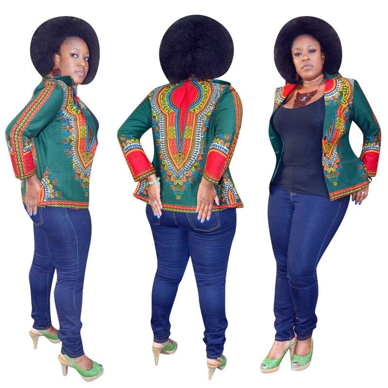 African Print Hippies Dashiki Bomber Autumn Spring Ladies Zip up Jumper