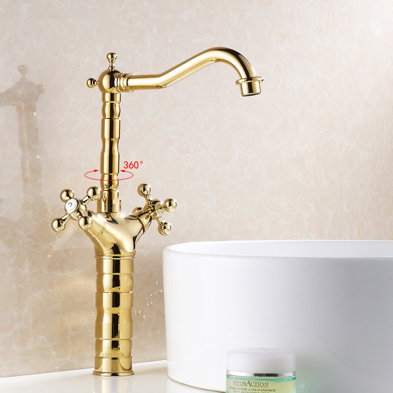 Christmas Gold Luxury Ti-PVD Brass Swivel Tall Bathroom Vanity Sink / Basin Torneira Cozinha Faucets Mixers Taps (UP-6712K)Christmas Gold Luxury Ti-PVD Brass Swivel Tall Bathroom Vanity Sink / Basin Torneira Cozinha Faucets Mixers Taps (UP-6712K)